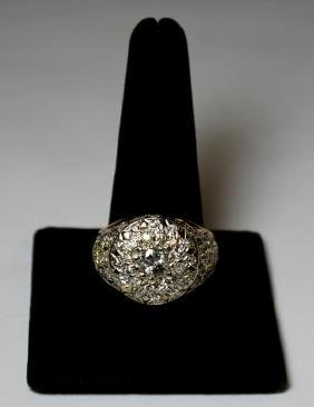 Jewelry. Men's 18kt Gold And Diamond Ring.