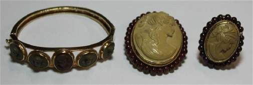 JEWELRY. Grouping of 14kt Gold Lava Cameo Jewelry.
