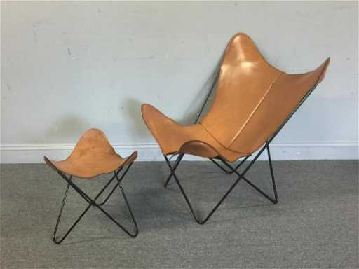 Midcentury Knoll Hardoy Butterfly Chair & Ottoman.