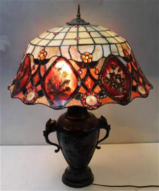 Antique Table Lamp with Bronze Japanese