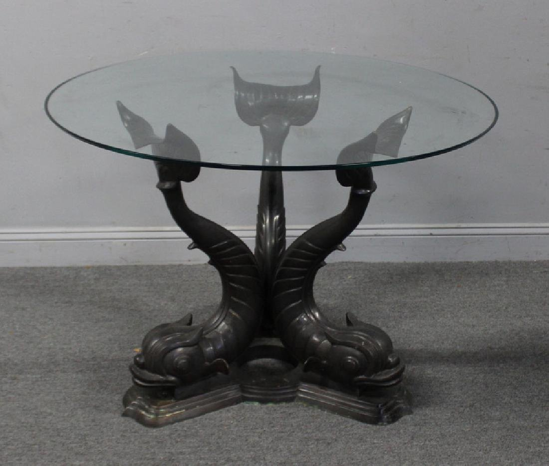 Vintage Glass Top Table with Patinated Bronze
