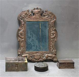 Lot of Ornate Silverplate To Include a Mirror