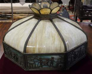 Large Handel Style Slag Glass Shade with