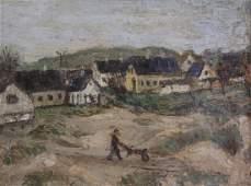 Early 20th C. Oil on Canvas. Farm Scene.