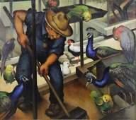 """WALKER, John Law. Oil on Canvas. """"Bird Man""""."""