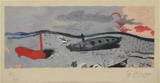 "BRAQUE, Georges. Lithograph. ""Bord De Mer"" 1960."