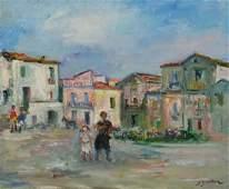 ZUCKER Jacques Oil on Canvas Village Street