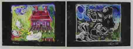 HARARI, Hananiah. Two (2) Pastels on Paper.