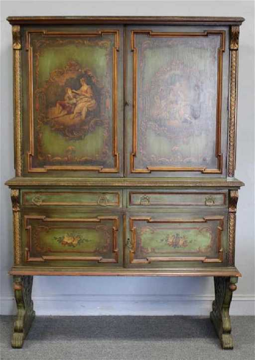 Finely Paint Decorated Antique Cabinet