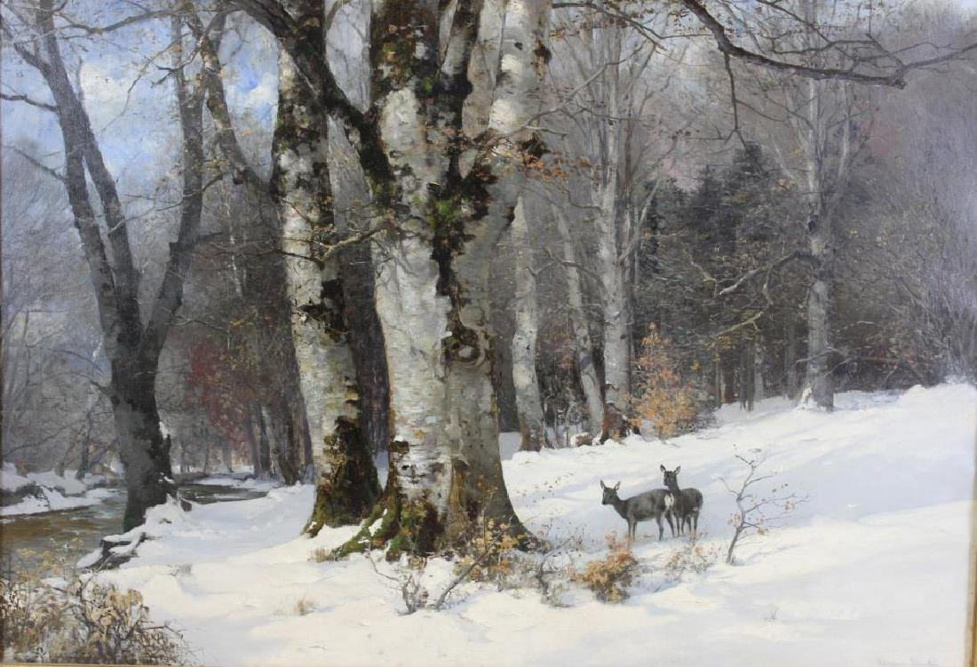 ANDERSON. A. Oil on Canvas. Deer In Snow.
