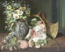 GOETINCK, J. Oil on Panel. Still Life with Basket
