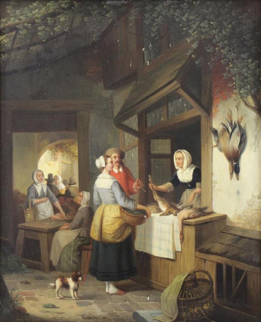 CARPENTERO, Henri. Oil on Panel. Woman Selling