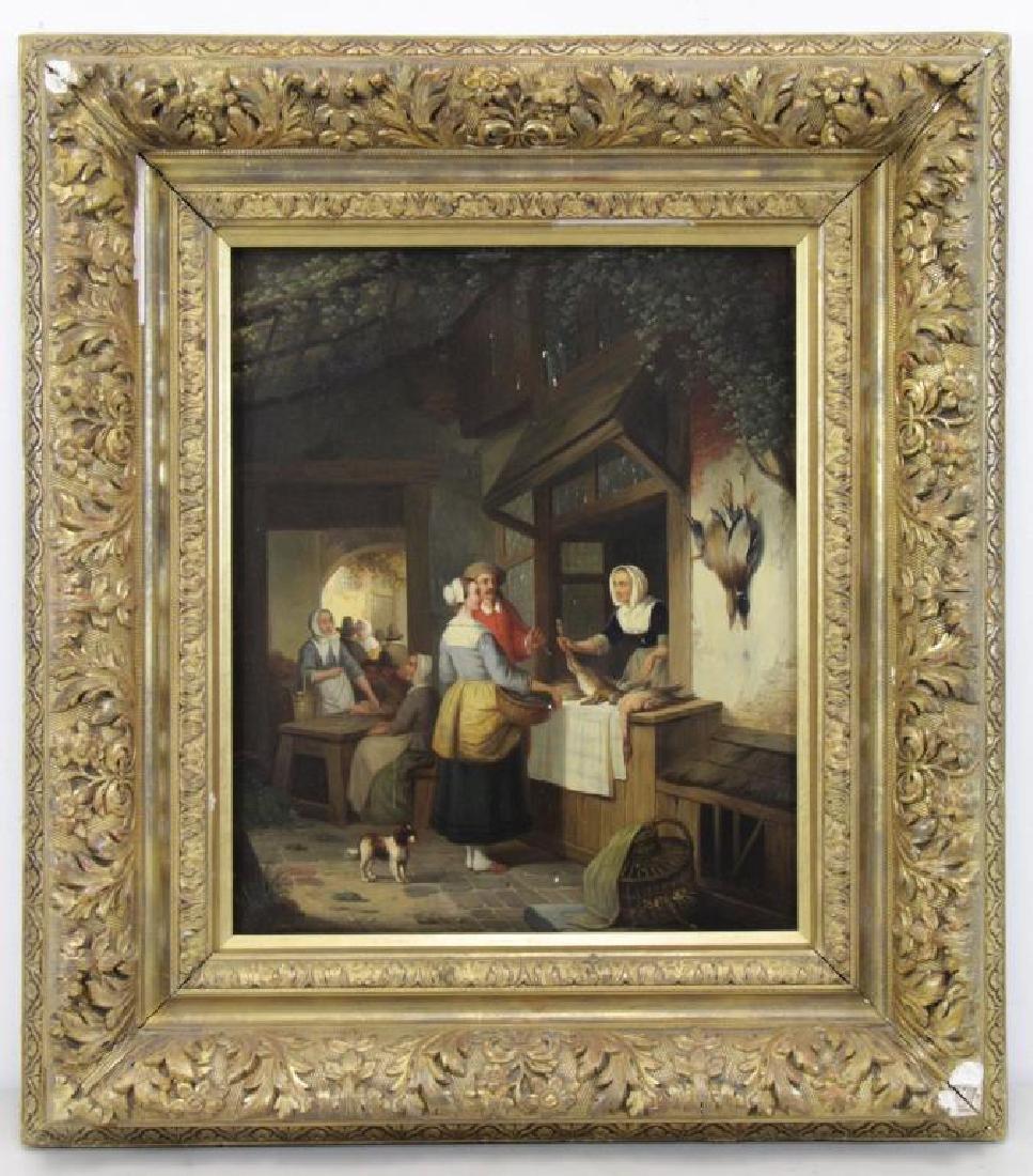 CARPENTERO, Henri. Oil on Panel. Woman Selling - 2