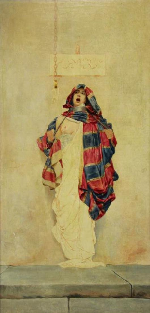 19th C. Orientalist Oil on Canvas. Slave Girl at