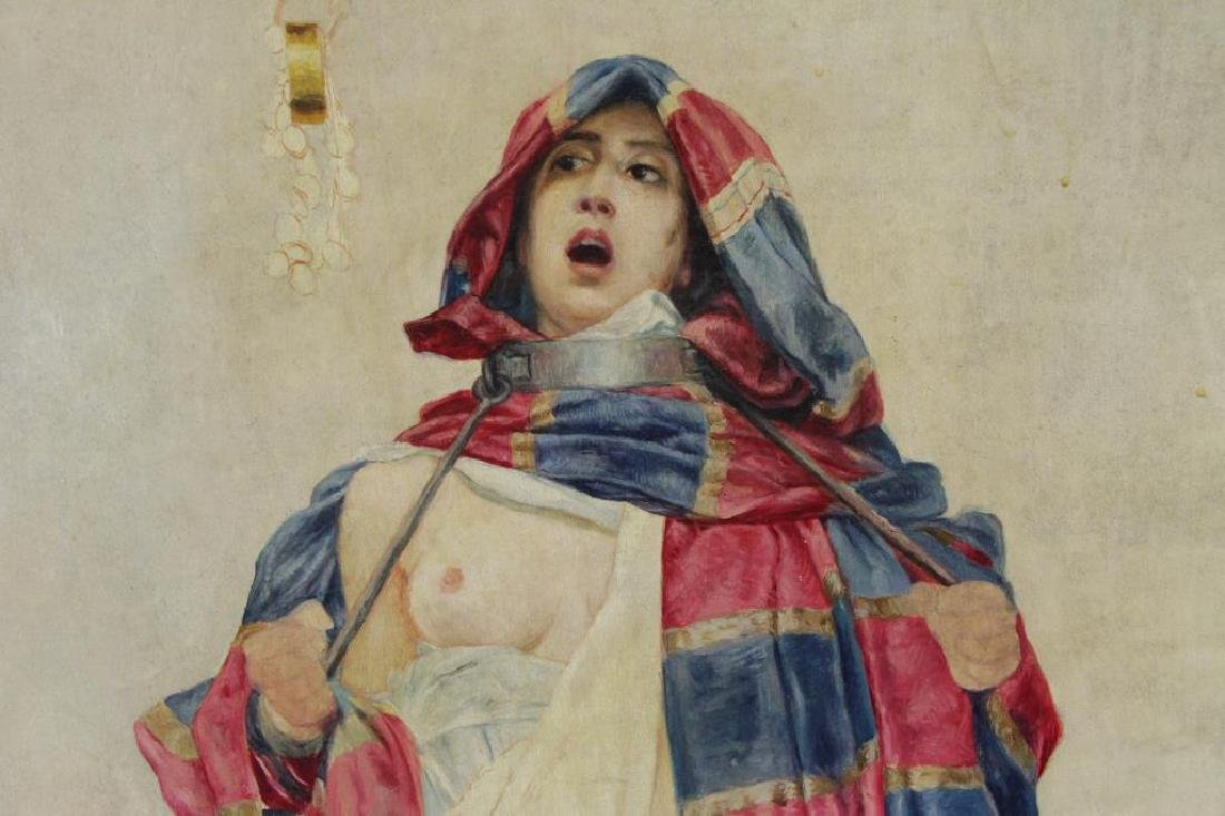 19th C. Orientalist Oil on Canvas. Slave Girl at - 3