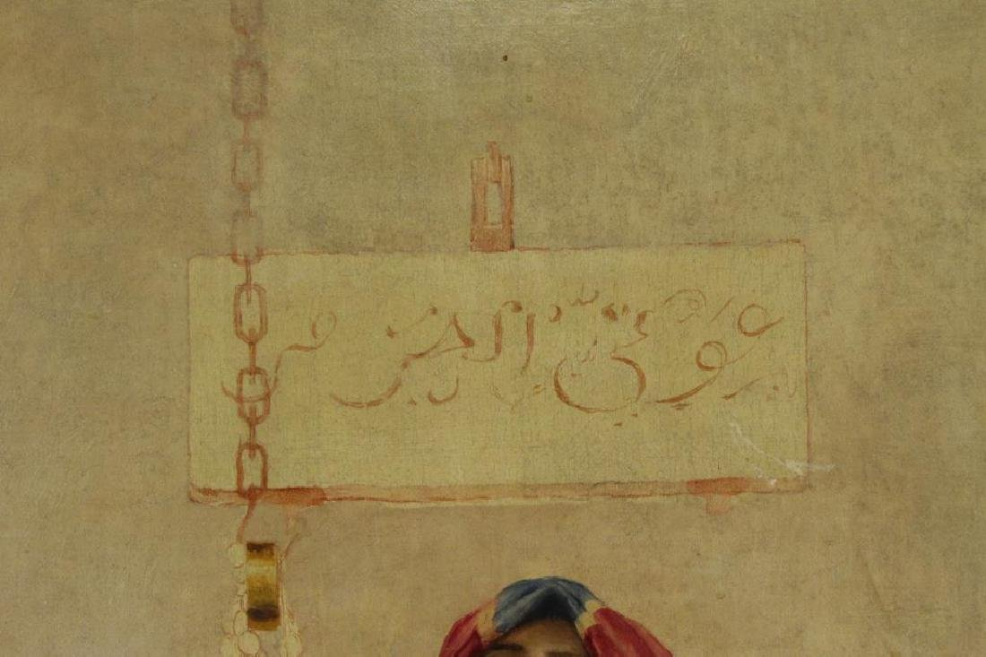 19th C. Orientalist Oil on Canvas. Slave Girl at - 4