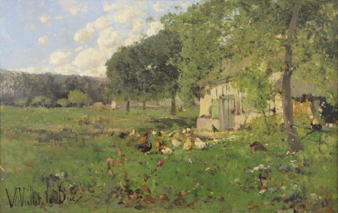 VIOLLET-LE-DUC, Victor. Oil on Canvas. Farmyard