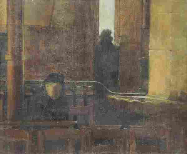 """CARRIERE, Eugene. Oil on Canvas. """"Interieur"""