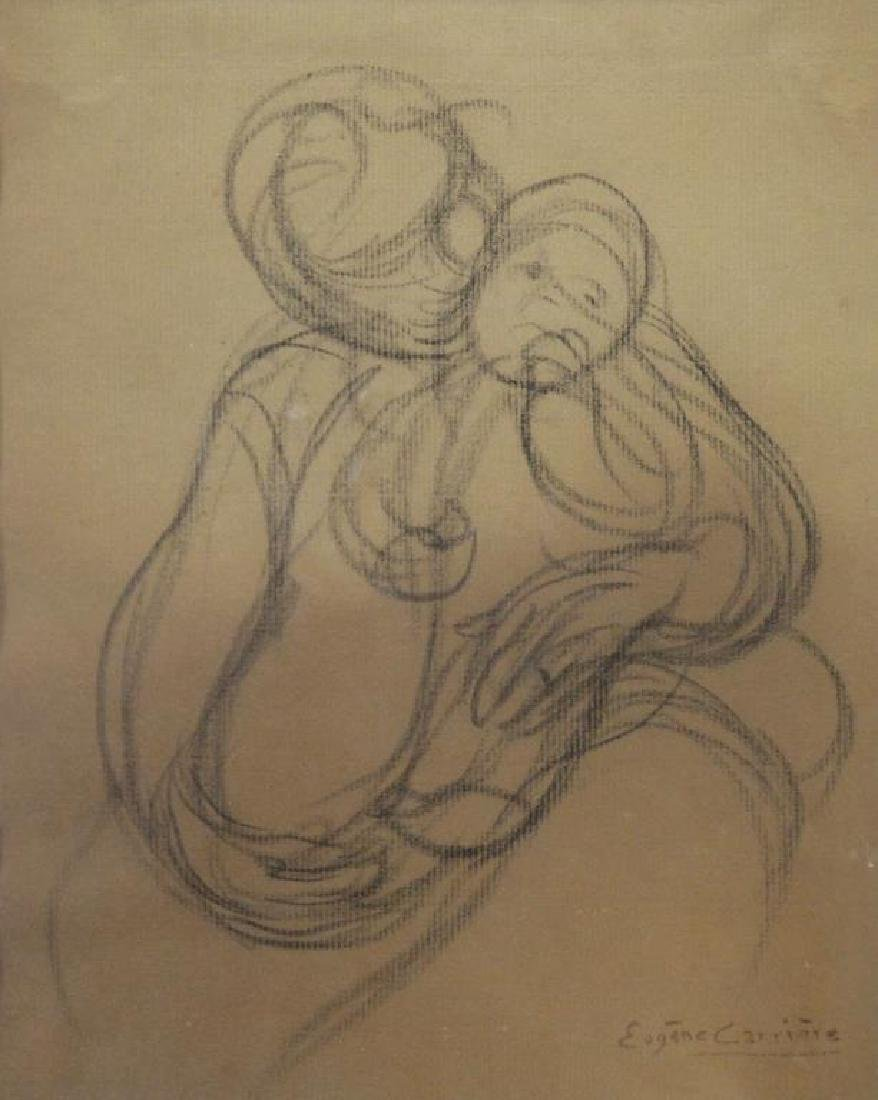 """CARRIERE, Eugene. Charcoal on Paper. """"Mother and"""