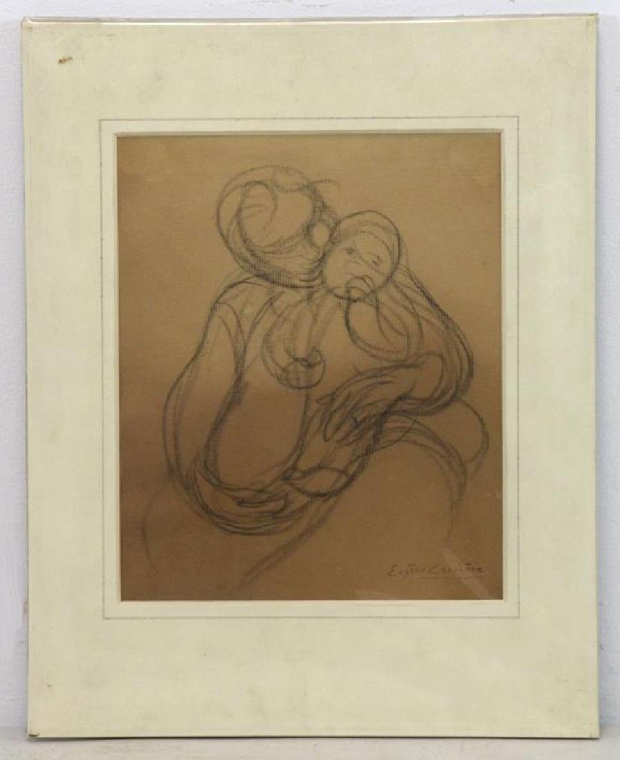 """CARRIERE, Eugene. Charcoal on Paper. """"Mother and - 2"""