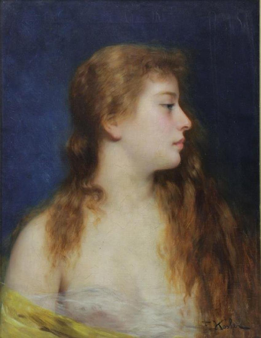 KOSLER, Franz. Oil on Canvas. Portrait of a Young