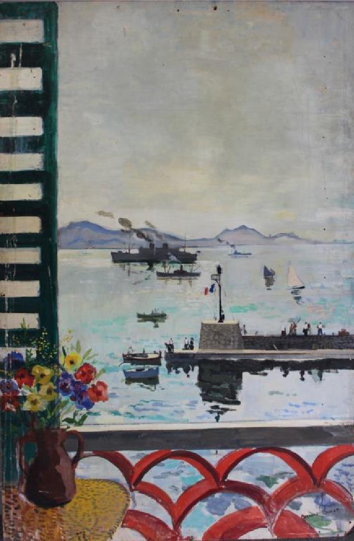 LAMOTTE, Bernard. Oil on Plywood. Harbor Scene.