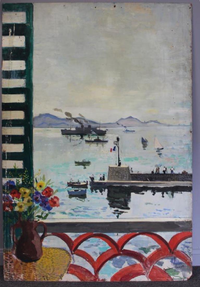 LAMOTTE, Bernard. Oil on Plywood. Harbor Scene. - 2