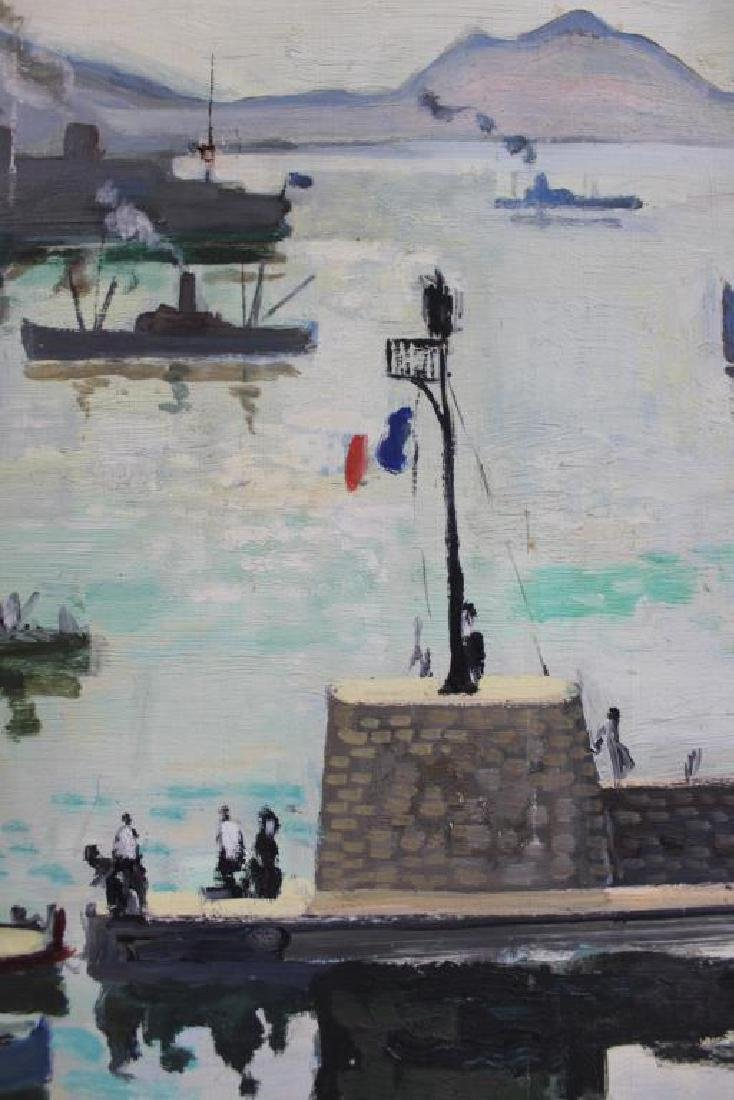 LAMOTTE, Bernard. Oil on Plywood. Harbor Scene. - 6
