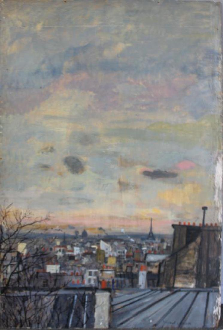 LAMOTTE, Bernard. Oil on Plywood. Paris Rooftops.