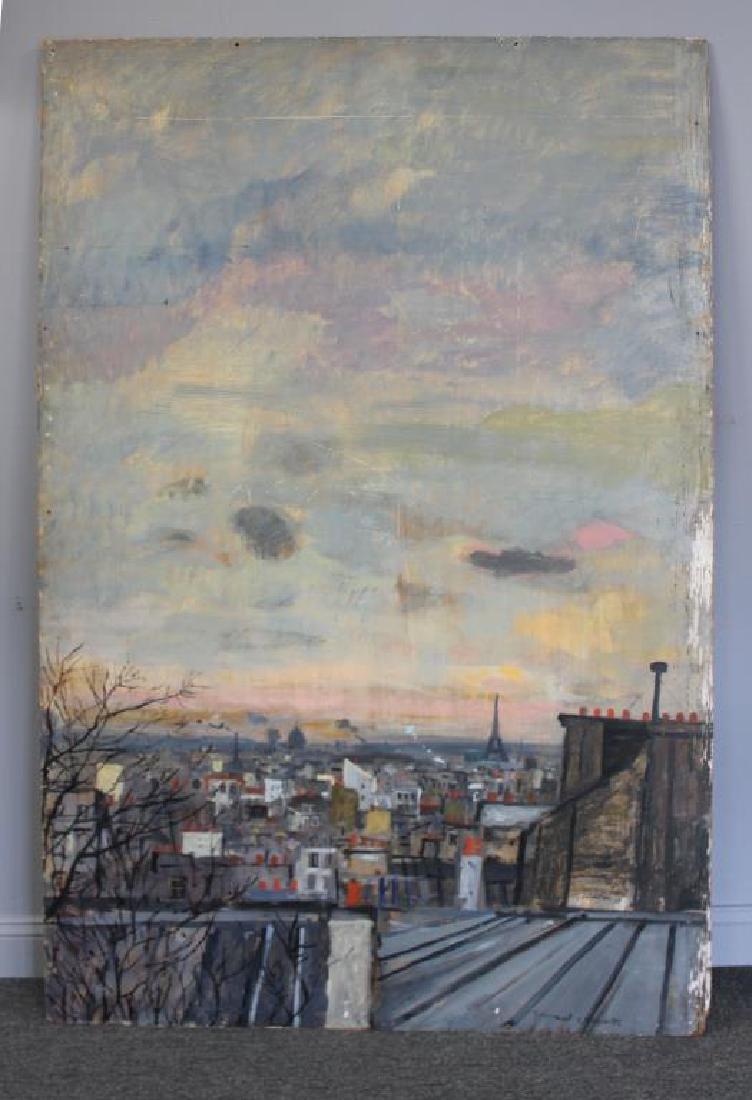 LAMOTTE, Bernard. Oil on Plywood. Paris Rooftops. - 2