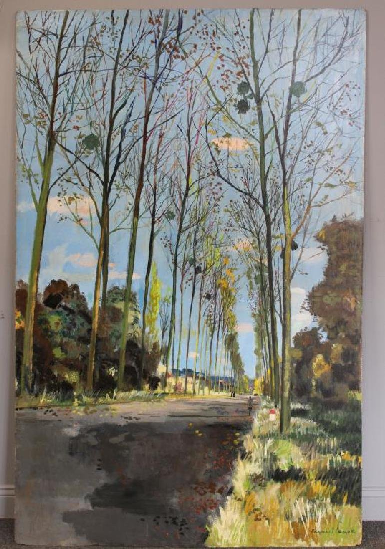 LAMOTTE, Bernard. Oil on Plywood. Country Lane. - 2