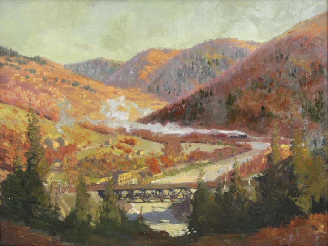OWEN, Robert E. Oil on Board. Mountain Locomotive.