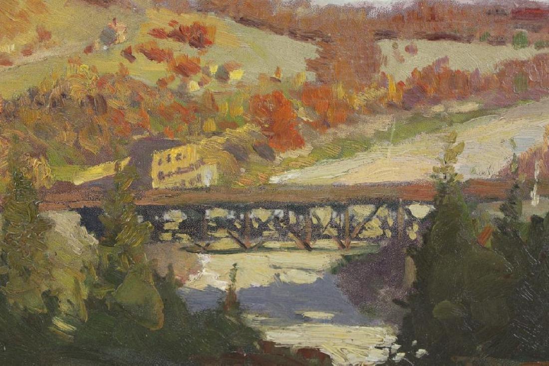 OWEN, Robert E. Oil on Board. Mountain Locomotive. - 4