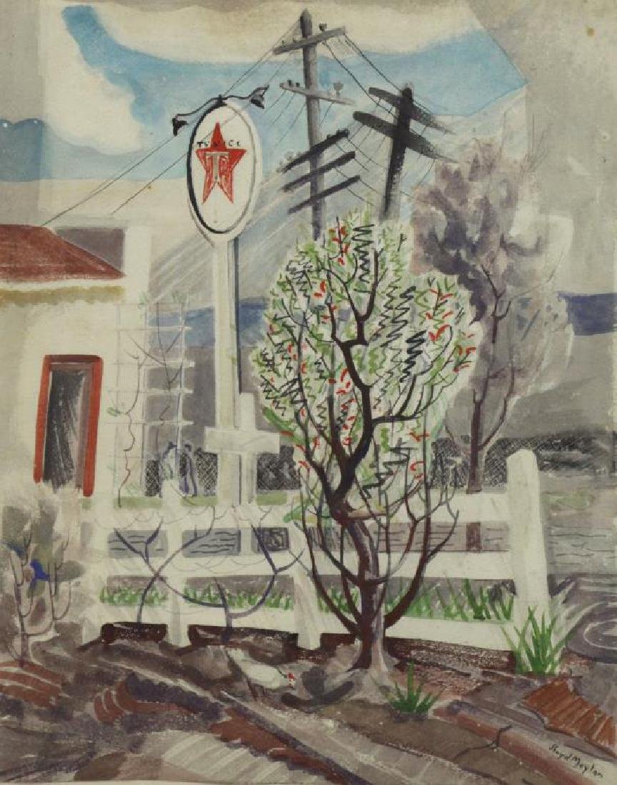 "MOYLAN, Lloyd. Watercolor ""Texaco Station""."