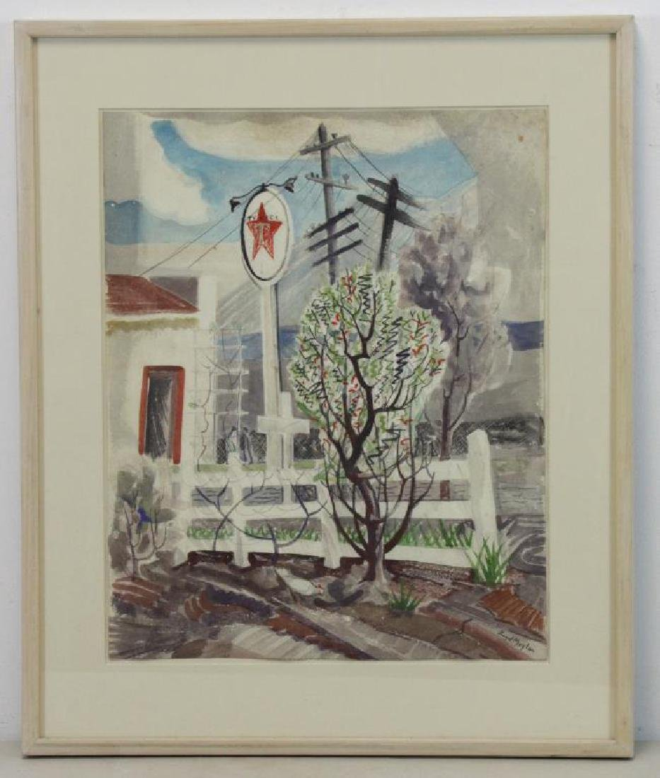 "MOYLAN, Lloyd. Watercolor ""Texaco Station"". - 2"