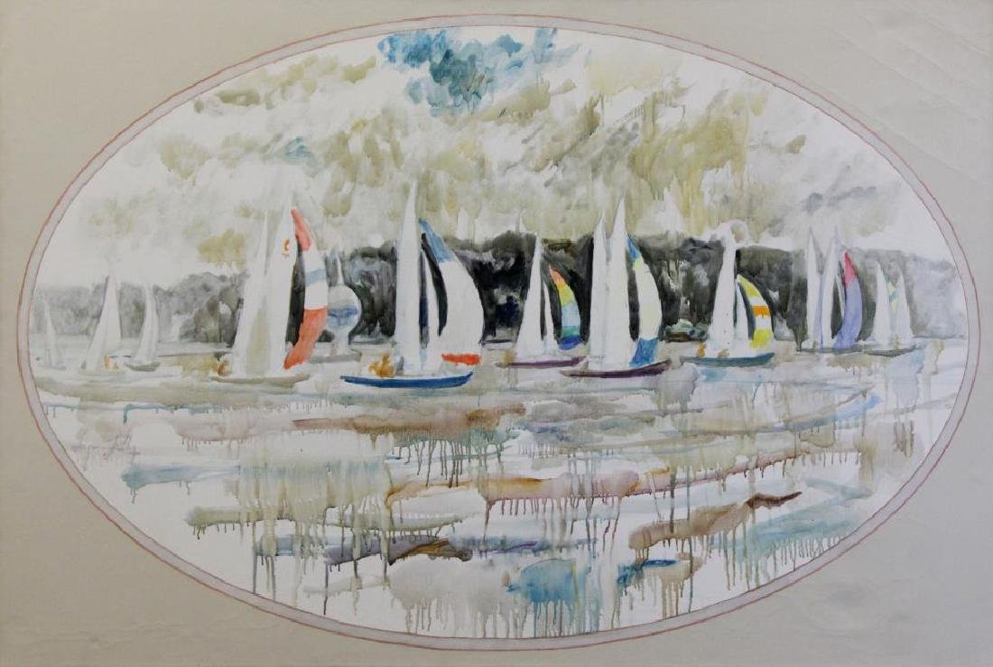 """KELLEY, Chapman. Oil on Canvas. """"Sailboats with"""