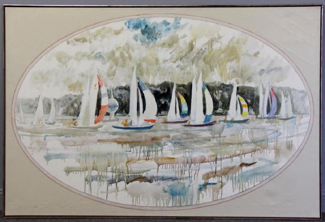 "KELLEY, Chapman. Oil on Canvas. ""Sailboats with - 2"