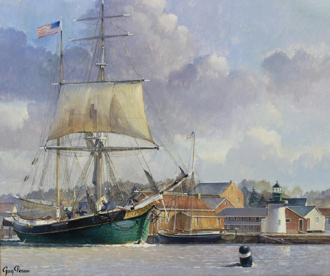 PERON, Guy. Oil on Board. American Ship at Harbor.