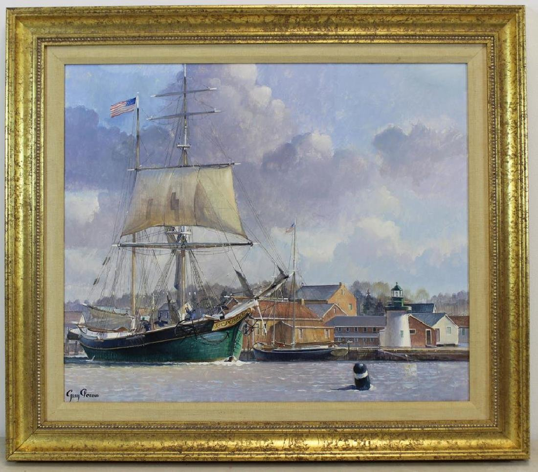 PERON, Guy. Oil on Board. American Ship at Harbor. - 2