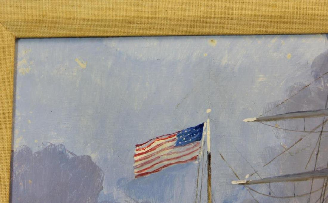 PERON, Guy. Oil on Board. American Ship at Harbor. - 4