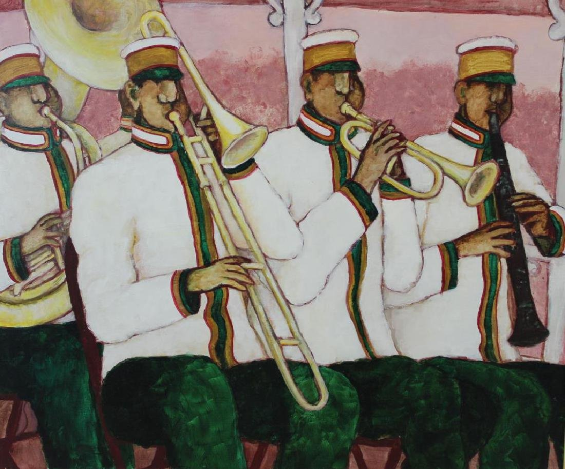 """BOOKER, Stephen H. Oil on Canvas. """"Brass Band""""."""