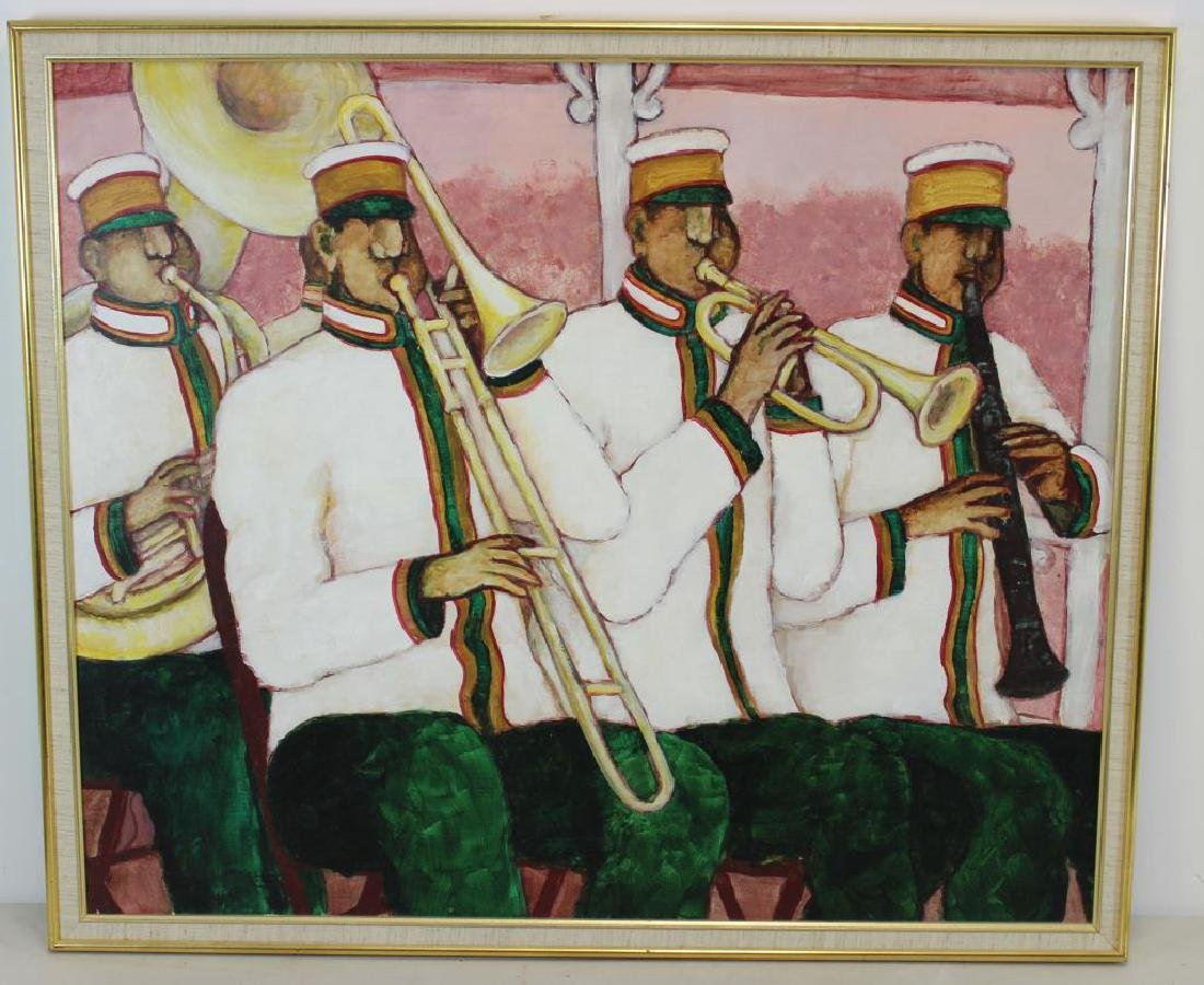 """BOOKER, Stephen H. Oil on Canvas. """"Brass Band"""". - 2"""