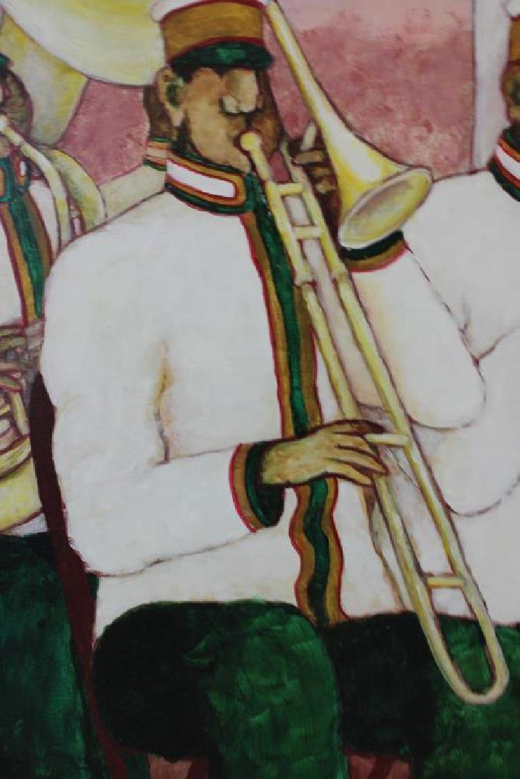 """BOOKER, Stephen H. Oil on Canvas. """"Brass Band"""". - 3"""