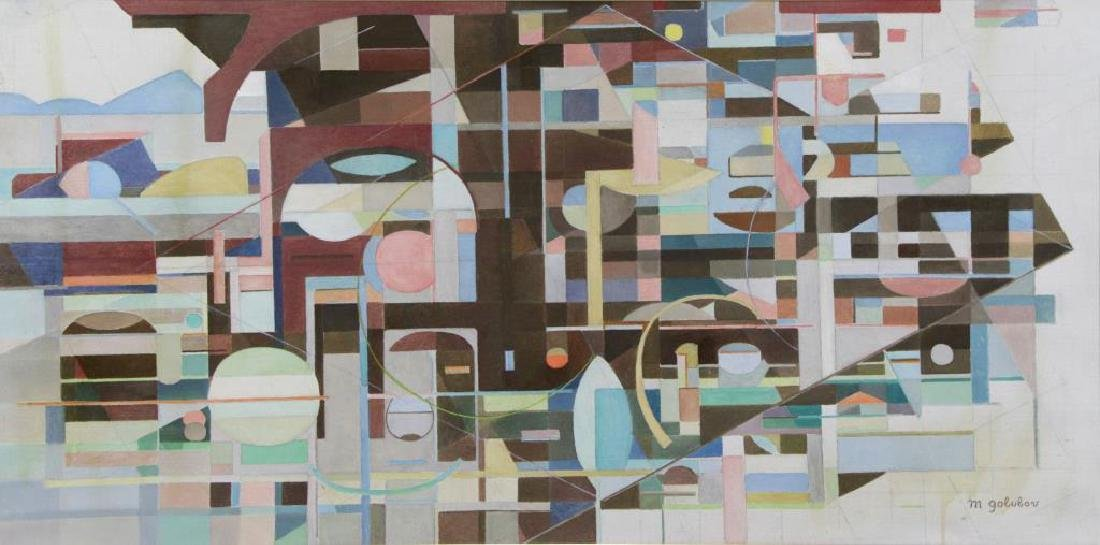 GOLUBOV, Maurice. Oil on Canvas. Untitled Abstract