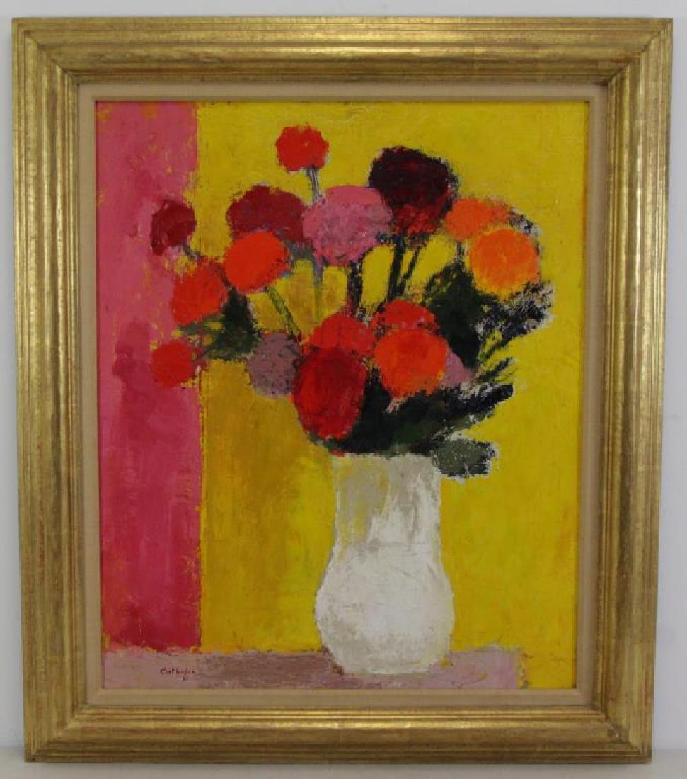 """CATHELIN, Bernard. Oil on Canvas.""""Dahlias"""" 1968. - 2"""