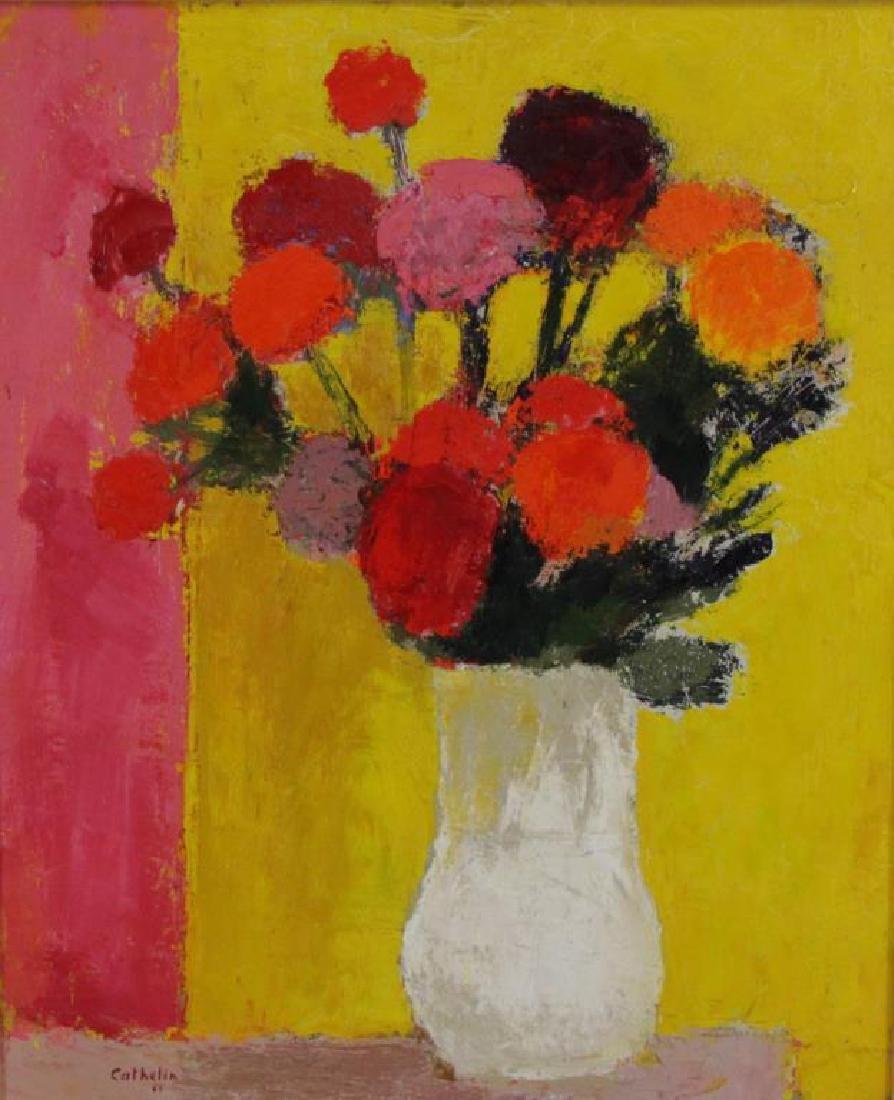 """CATHELIN, Bernard. Oil on Canvas.""""Dahlias"""" 1968. - 3"""