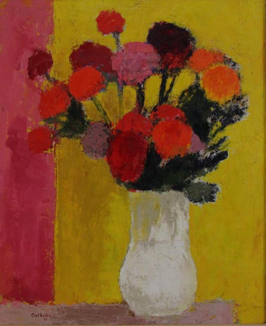 """CATHELIN, Bernard. Oil on Canvas.""""Dahlias"""" 1968. - 4"""