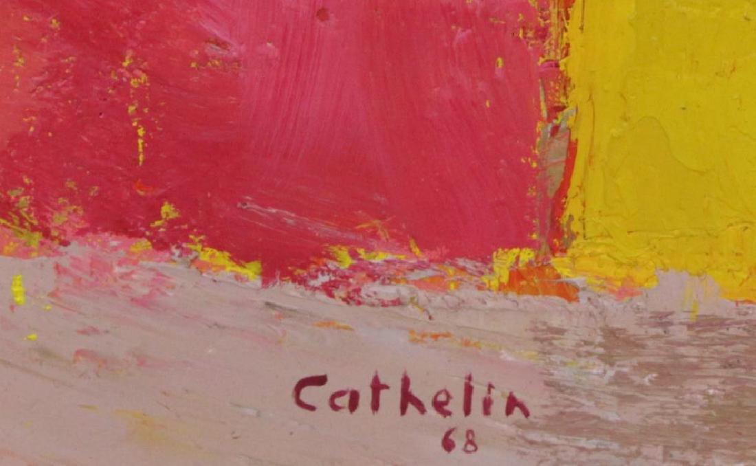 """CATHELIN, Bernard. Oil on Canvas.""""Dahlias"""" 1968. - 5"""