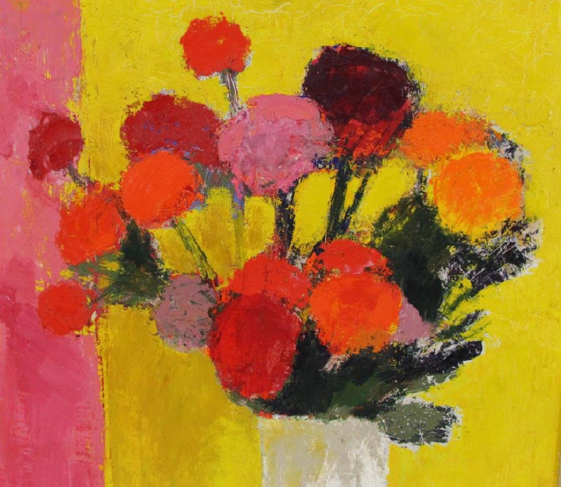 """CATHELIN, Bernard. Oil on Canvas.""""Dahlias"""" 1968. - 6"""