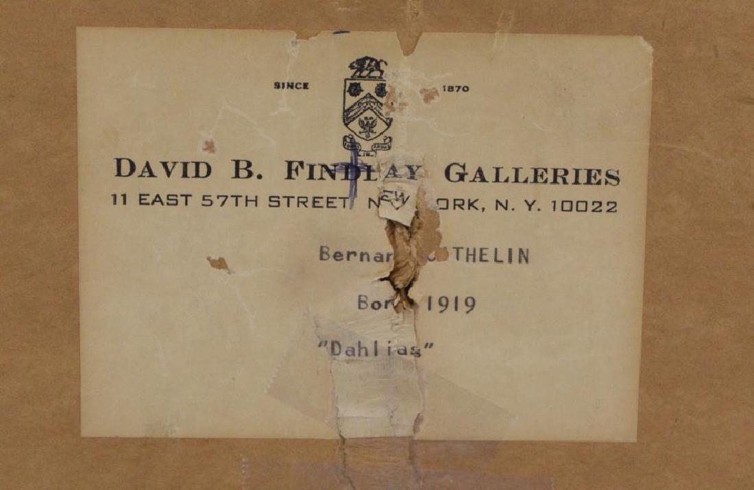"""CATHELIN, Bernard. Oil on Canvas.""""Dahlias"""" 1968. - 8"""